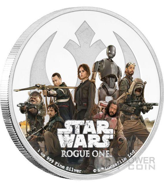 REBELLION Star Wars Rogue One 1 Oz Moneta Argento 2$ Niue 2017