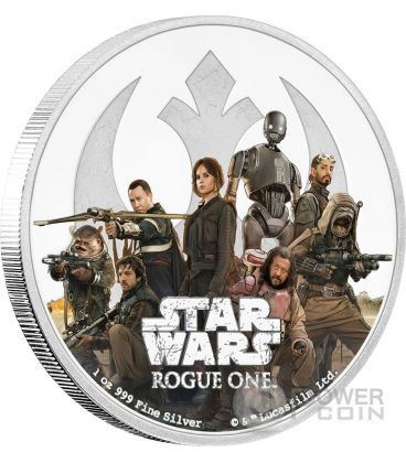 REBELLION Star Wars Rogue One 1 Oz Moneta Argento 2$ Niue 2017