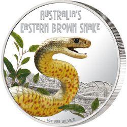 SNAKE Eastern Brown Deadly Dangerous Silber Münze 1$ Tuvalu 2010