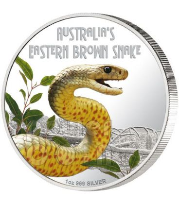 SNAKE Eastern Brown Deadly Dangerous Silver Coin 1$ Tuvalu 2010