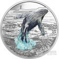 BREACHING WHALE Three Dimensional 3D Silver Coin 20 Dollars Canada 2017