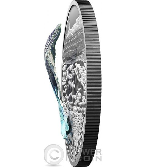 BREACHING WHALE Three Dimensional Balena Tridimensionale Moneta Argento 20 Dollari Canada 2017