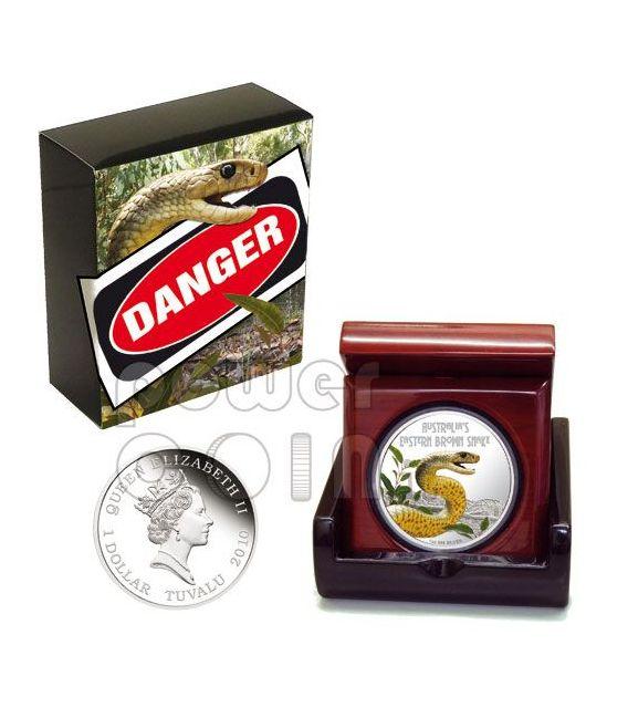 SNAKE Eastern Brown Deadly Dangerous Moneda Plata 1$ Tuvalu 2010