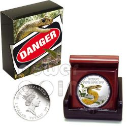 SNAKE Eastern Brown Deadly Dangerous Moneda Plata 1$ Tuvalu 2010