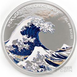 HOKUSAI THE GREAT WAVE Kanagawa Grande Onda 1 Oz Proof Moneta Argento 1$ Fiji 2017