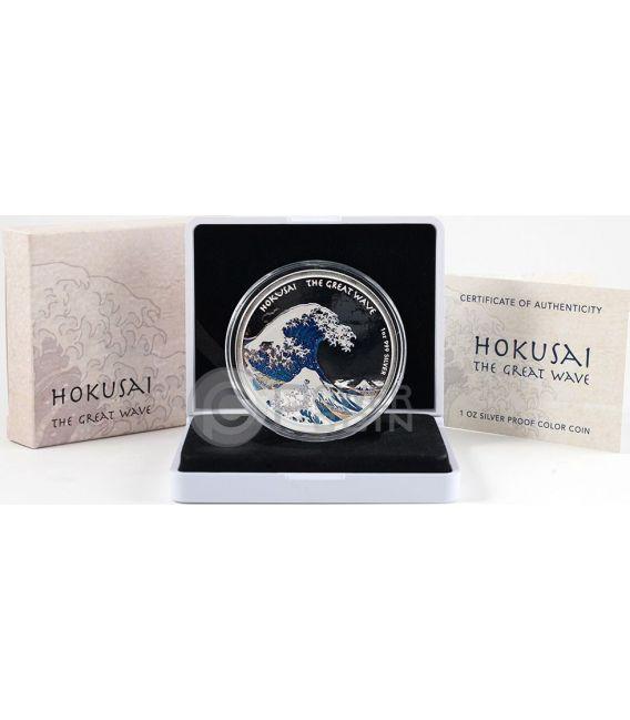 HOKUSAI THE GREAT WAVE Kanagawa 1 Oz Proof Серебро Монета 1$ Фи́джи 2017