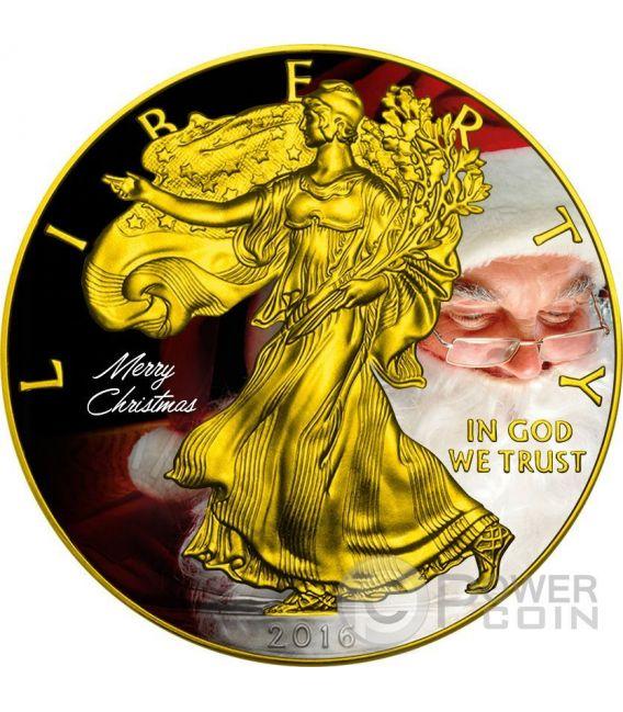 CHRISTMAS Natale Walking Liberty 1 Oz Moneta Argento 1$ US Mint 2016