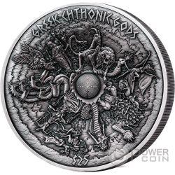GREEK CHTHONIC GODS Dei Divinita Ctonie 1 Kilo Moneta Argento 25$ Samoa 2017
