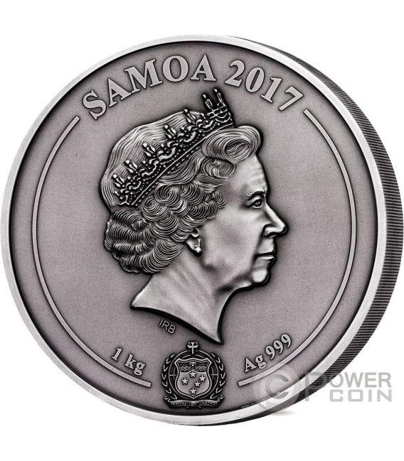 GREEK CHTHONIC GODS Multiple Layer Relief 1 Kilo Silber Münze 25$ Samoa 2017