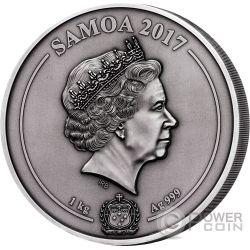 GREEK CHTHONIC GODS Multiple Layer Relief 1 Kilo Moneda Plata 25$ Samoa 2017