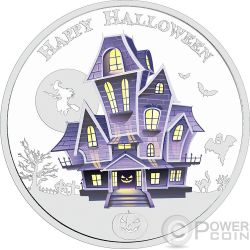 HAUNTED HOUSE HALLOWEEN Glow In The Dark 1 Oz Moneda Plata 2$ Niue 2016