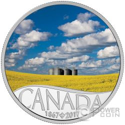 CANOLA FIELD Celebrating 150th Anniversary Silver Coin 10$ Canada 2017