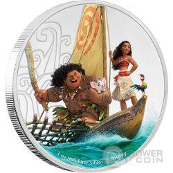 VAIANA Oceania Disney Princess Principessa Moana 1 Oz Moneta Argento 2$ Niue 2017