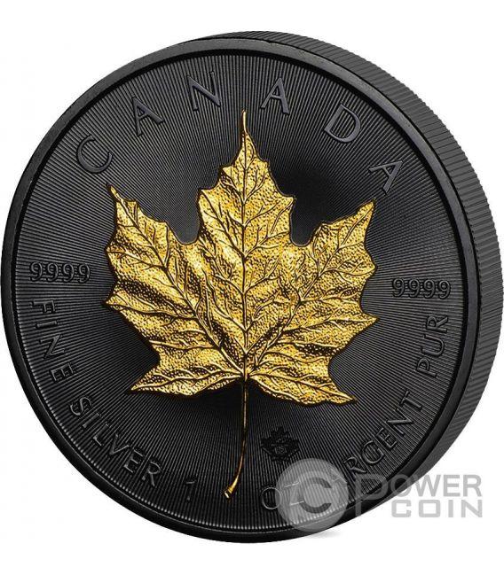 GOLDEN ENIGMA Maple Leaf Black Ruthenium 1 Oz Silver Coin 5$ Canada 2016