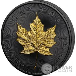 GOLDEN ENIGMA Maple Leaf Black Ruthenium 1 Oz Silver Coin 5$ Canada 2016