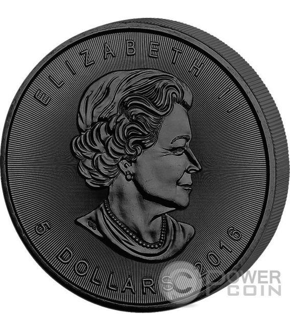 GOLDEN ENIGMA Maple Leaf Black Ruthenium 1 Oz Moneda Plata 5$ Canada 2016