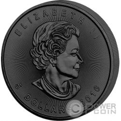 GOLDEN ENIGMA Maple Leaf Black Ruthenium 1 Oz Moneda Plata 5$ Canada 2016