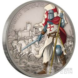 KNIGHTS TEMPLAR Warriors of History Templari Guerrieri della Storia 1 Oz Moneta Argento 2$ Niue 2017