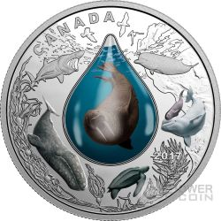 UNDERWATER LIFE Vita Marina Water Droplet Goccia Acqua Moneta Argento 20$ Canada 2017