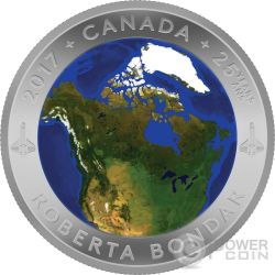 VIEW OF CANADA FROM SPACE 25th Anniversary Convex Silver Coin 25$ Canada 2017