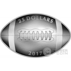 FOOTBALL SHAPED AND CURVED Convessa Concava Moneta Argento 25$ Canada 2017