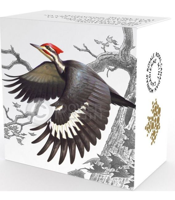 PILEATED WOODPECKER The Migratory Birds Convention Uccelli Migratori Moneta Argento 20$ Canada 2016