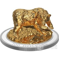GRIZZLY BEAR Sculpture Of Majestic Animals 3D Silver Coin 100$ Canada 2017