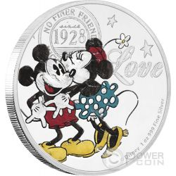 DISNEY LOVE Minnie Mickey Kiss 1 Oz Silver Coin 2$ Niue 2017