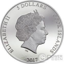 CROCODILE JAGUAR Predator Prey Yin Yang Rhodium 1 Oz Silver Coin 5$ Cook Islands 2017