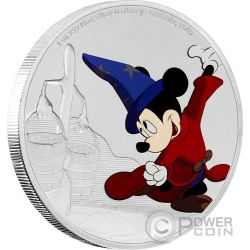 FANTASIA Topolino Mickey Mouse Through The Ages Disney 1 Oz Moneta Argento 2$ Niue 2017