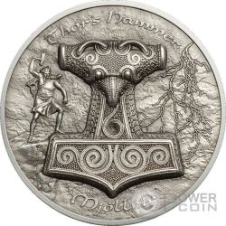 THOR HAMMER Mjollnir Martello 2 Oz Moneta Argento 10$ Cook Islands 2017