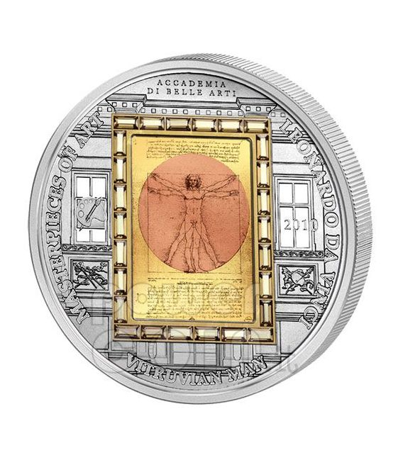 VITRUVIAN MAN Leonardo Da Vinci Silver Gold Coin 20$ Cook Islands 2010