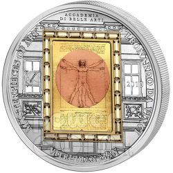 VITRUVIAN MAN Leonardo Da Vinci Plata Moneda Oro 20$ Cook Islands 2010