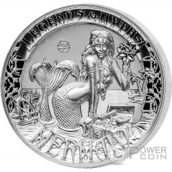 MERMAID Legends And Myths Sirena 2 Oz Moneta Argento 5$ Solomon Islands 2016