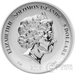 MERMAID Legends And Myths 2 Oz Moneda Plata 5$ Solomon Islands 2016