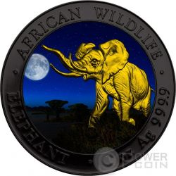 ELEPHANT NIGHT African Wildlife 1 Oz Moneda Plata 100 Shillings Somalia 2016