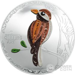 BIRD Quilling Art Uccello Moneta Argento 2$ Cook Islands 2017