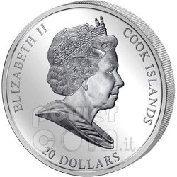 VITRUVIAN MAN Leonardo Da Vinci Серебро Золото Монета 20$ Острова Кука 2010
