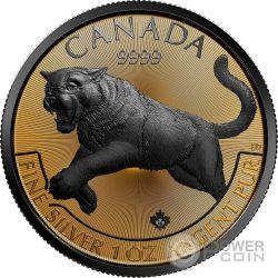 COUGAR Golden Enigma Coguaro Nera Rutenio 1 Oz Moneta Argento 5$ Canada 2016