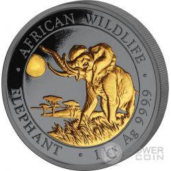 ELEPHANT Golden Enigma Elefante African Wildlife 1 Kg Kilo Moneta Argento 2000 Shillings Somalia 2016