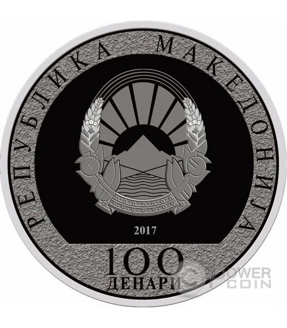 ROOSTER WITH AN ANGEL Lunar Year Silver Coin 100 Denars North Macedonia 2017