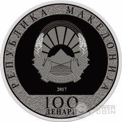 ROOSTER WITH AN ANGEL Lunar Year Серебро Монета 100 Денар Македония 2017