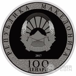 ROOSTER WITH AN ANGEL Lunar Year Silber Münze 100 Denars Macedonia 2017