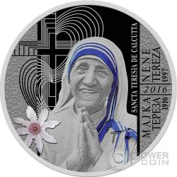 SANCTA TERESIA DE CALCUTTA Canonization Mother Teresa Silber Münze 100 Denars Macedonia 2016