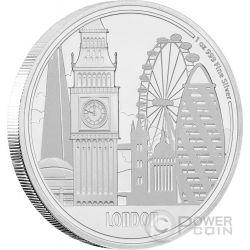 LONDON Londra Big Ben Great Cities 1 Oz Moneta Argento 2$ Niue 2017