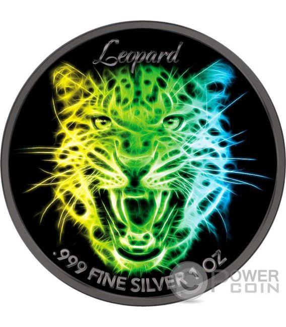LION LEOPARD TIGER Black Neon Collection Set 3 x 1 Oz Silver Coin 5$ Niue 2016