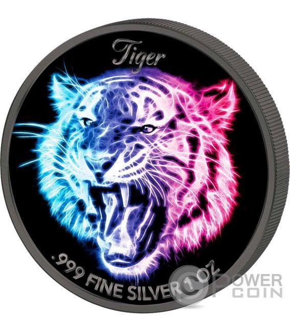 LION LEOPARD TIGER Leone Leopardo Tigre Black Neon Collection Set 3 x 1 Oz Moneta Argento 5$ Niue 2016