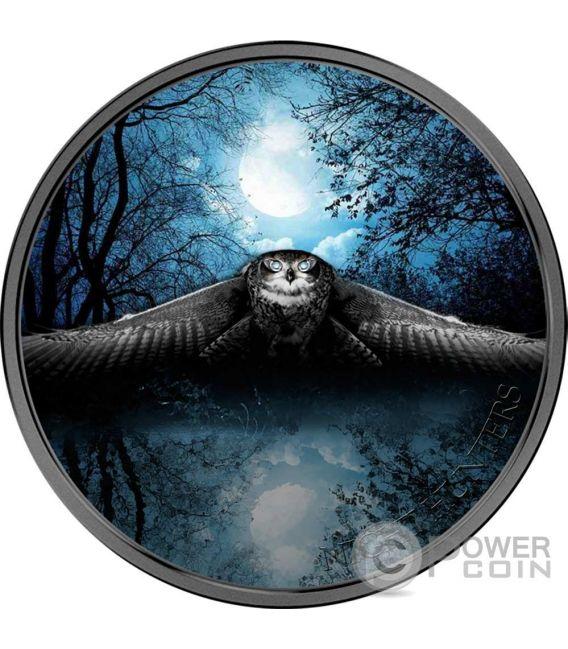 OWL Night Hunters 3 Oz Серебро Монета 2000 Франков Кот-д-Ивуар 2017
