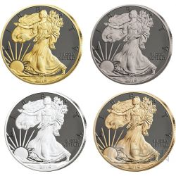 WALKING LIBERTY Prestige Set 4x1 Oz Moneta Argento 1$ Dollar US Mint 2016