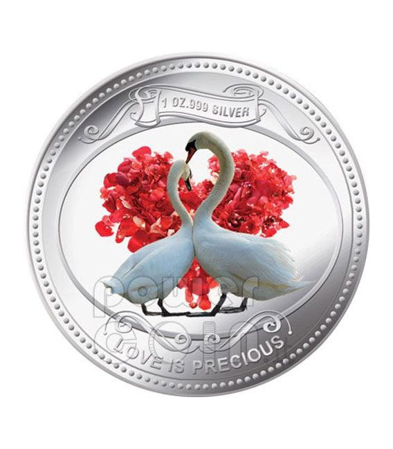 WHITE SWANS Love Is Precious Silber Proof Münze 2$ Niue 2010